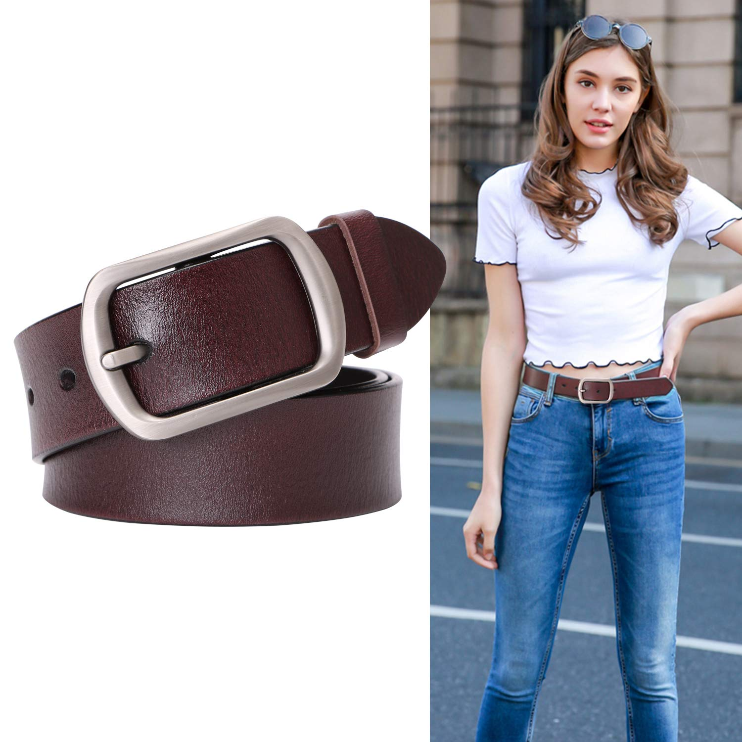 Genuine Leather Belts For Women Vintage Ladies Retro Jeans Waist Belt With Metal Pin Buckle Ladies Real Bull Leather Dress Belt For Pants