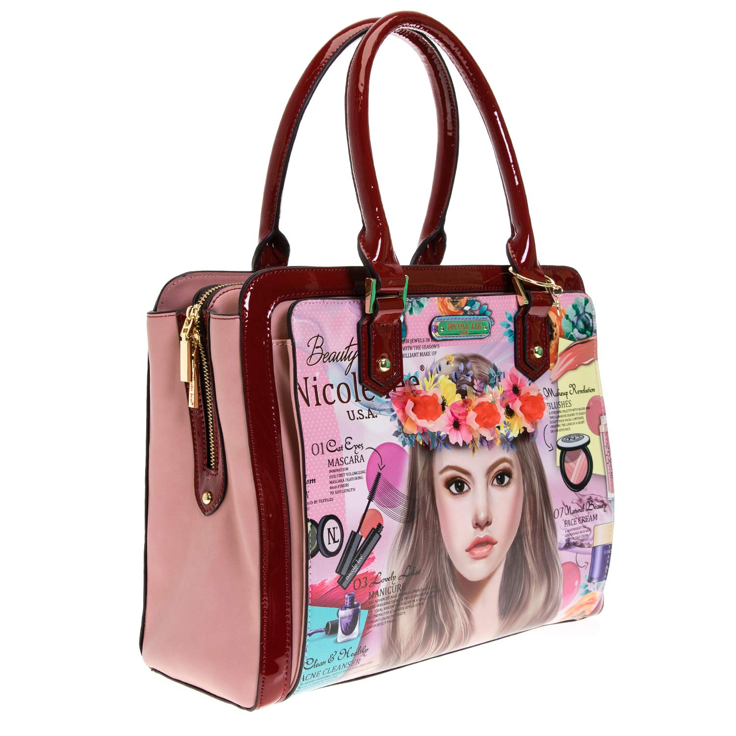Floral Top Handle Brief Case Tote Bag with Spacious Compartment: Handbags: Amazon.com