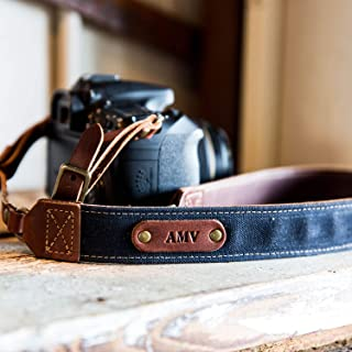 product image for The Nomad Personalized Fine Leather & Canvas Camera Strap in Navy