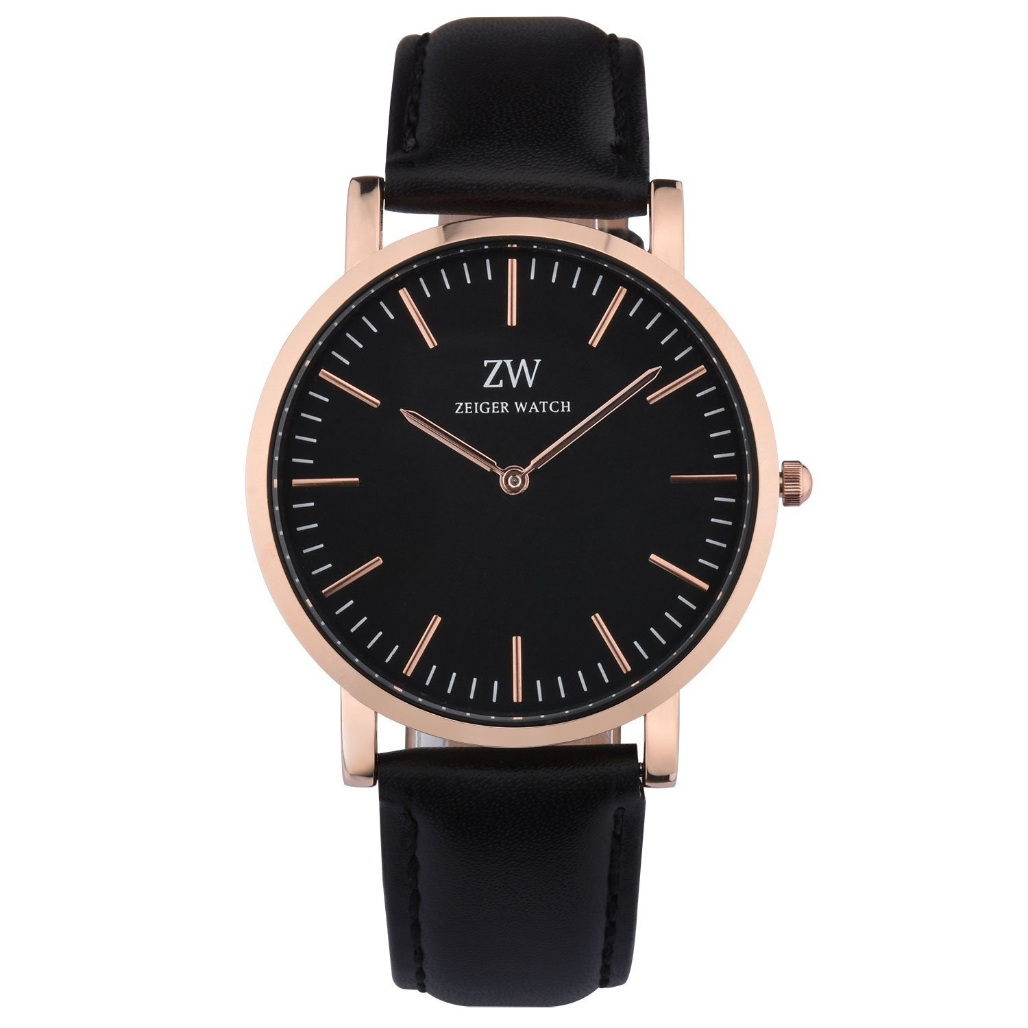 e0bc76bd2 Zeiger New Mens Women Fashion Casual Business Black Dial Analog Quartz Watch  with Leather Band (