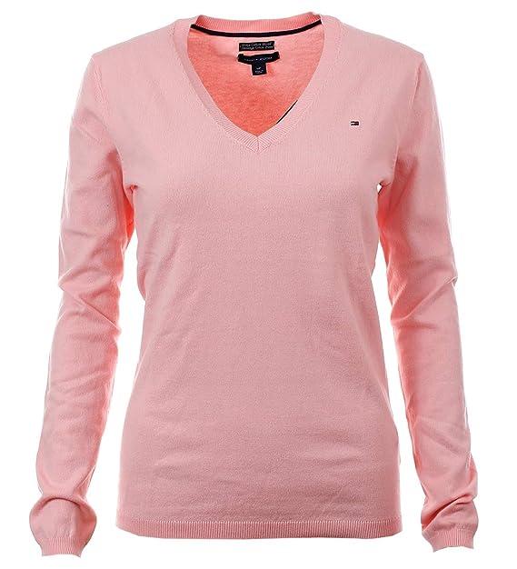 9d48e9ceb6f6 Tommy Hilfiger V-Neck Damen Pullover Pulli Strickpullover rosa Größe ...