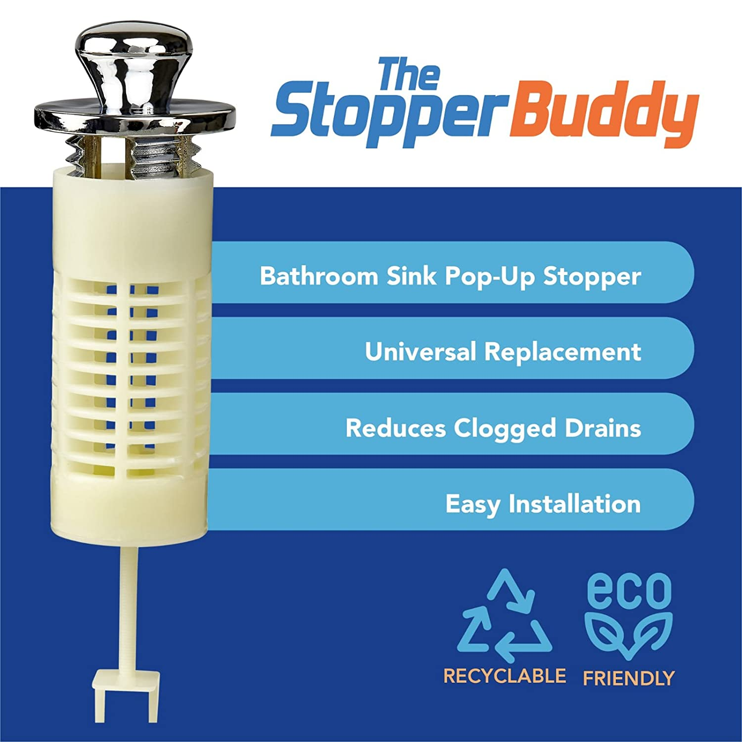 Amazon.com: The Stopper Buddy - Sink Drain Protector Hair Catcher ...