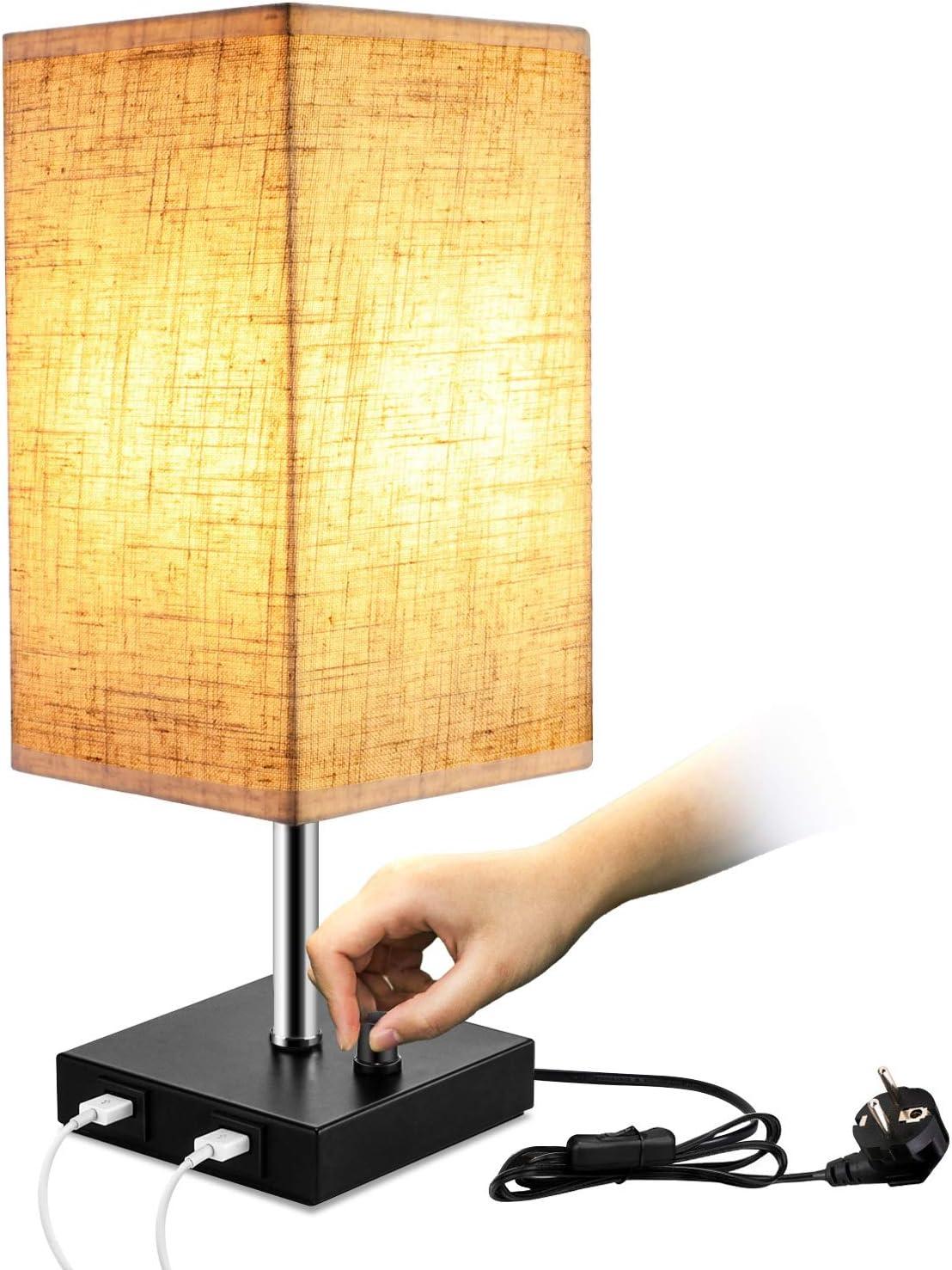 Soggiorno Caffetteria Lightess Lampada da Comodino Paralume in Tessuto Luminosit/à Regolabile Lampada da Tavolo 2 Porte di Ricarica USB Lampada da Notte Vintage per Camera da Letto Rotonda