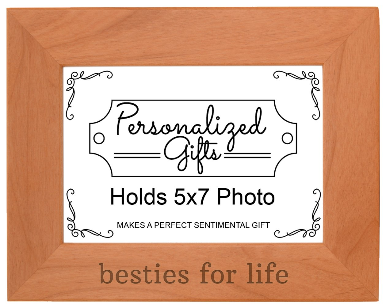 Besties for Life Best Friends Forever Gift Natural Wood Engraved 5x7 Landscape Picture Frame Wood