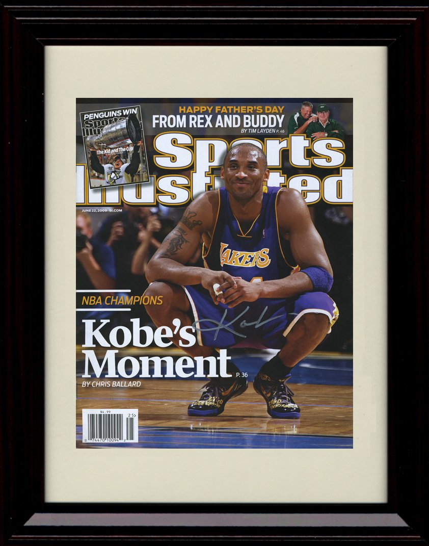Framed Kobe Bryant Los Angeles Lakers Sports Illustrated Autograph Replica Print - NBA Champs