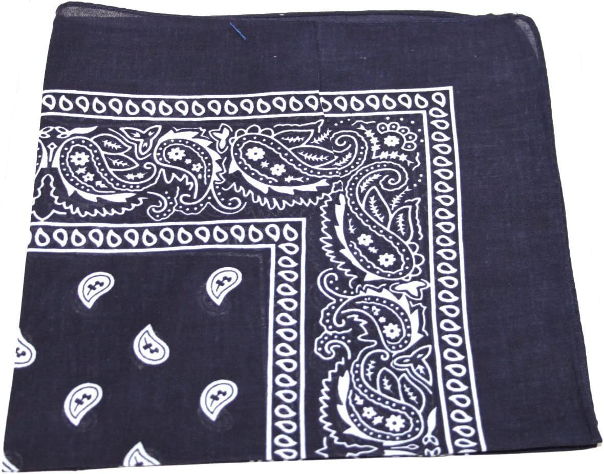 2X Navy Blue Bandana with White Square Paisley Pattern ON Both Sides