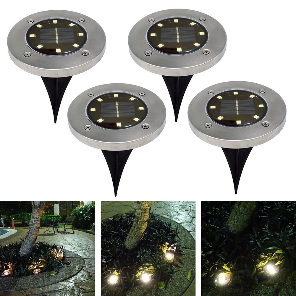 8 Led Beads Solar Powered Ground Light Waterproof Stainless Stee Abs Landscape Spike Lighting White/Warm Durable Under Ip55 Lamp Decoration For Yard Driveway Lawn Pathway Outdoor Garden Patio Walkway Pool Area (White light) Besthuer BesthuerUKEQ0089301