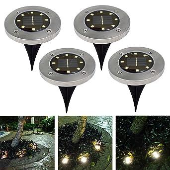Lampe Solaire Exterieur Sol, Spot Solaire avec 8 LED Lumière Etanche ...