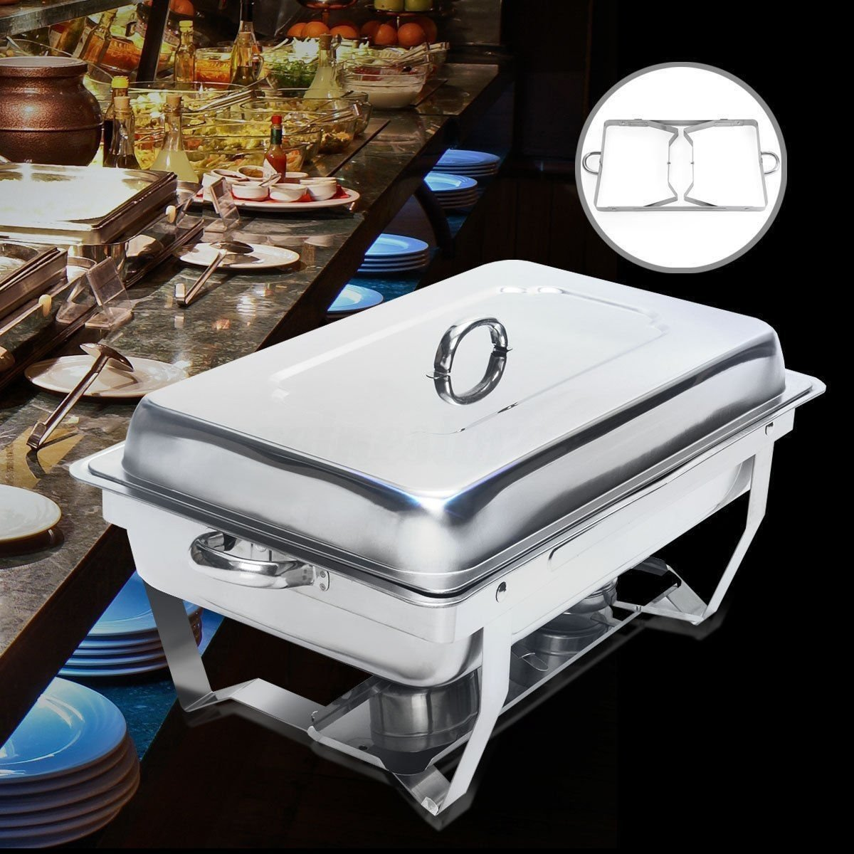 Chafing Dish Set 9 Liter Polished Stainless Steel for Catering BUFFETS Parties 8888