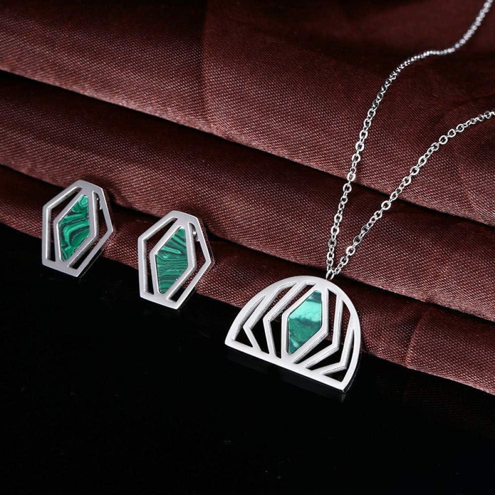 Burenqi Conjuntos de Joyas de Mujeres turquesas Pendientes de Acero Inoxidable Pendientes de Plata y Oro con Colgante de malaquita Pendientes de diseño de Luna