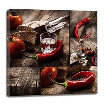 Kitchen Decor Wall Art Canvas Prints Red Chili Pepper Decorations Still Life Dining Room Wall Decor Modern Art Picture For Kitchen Decorations Theme