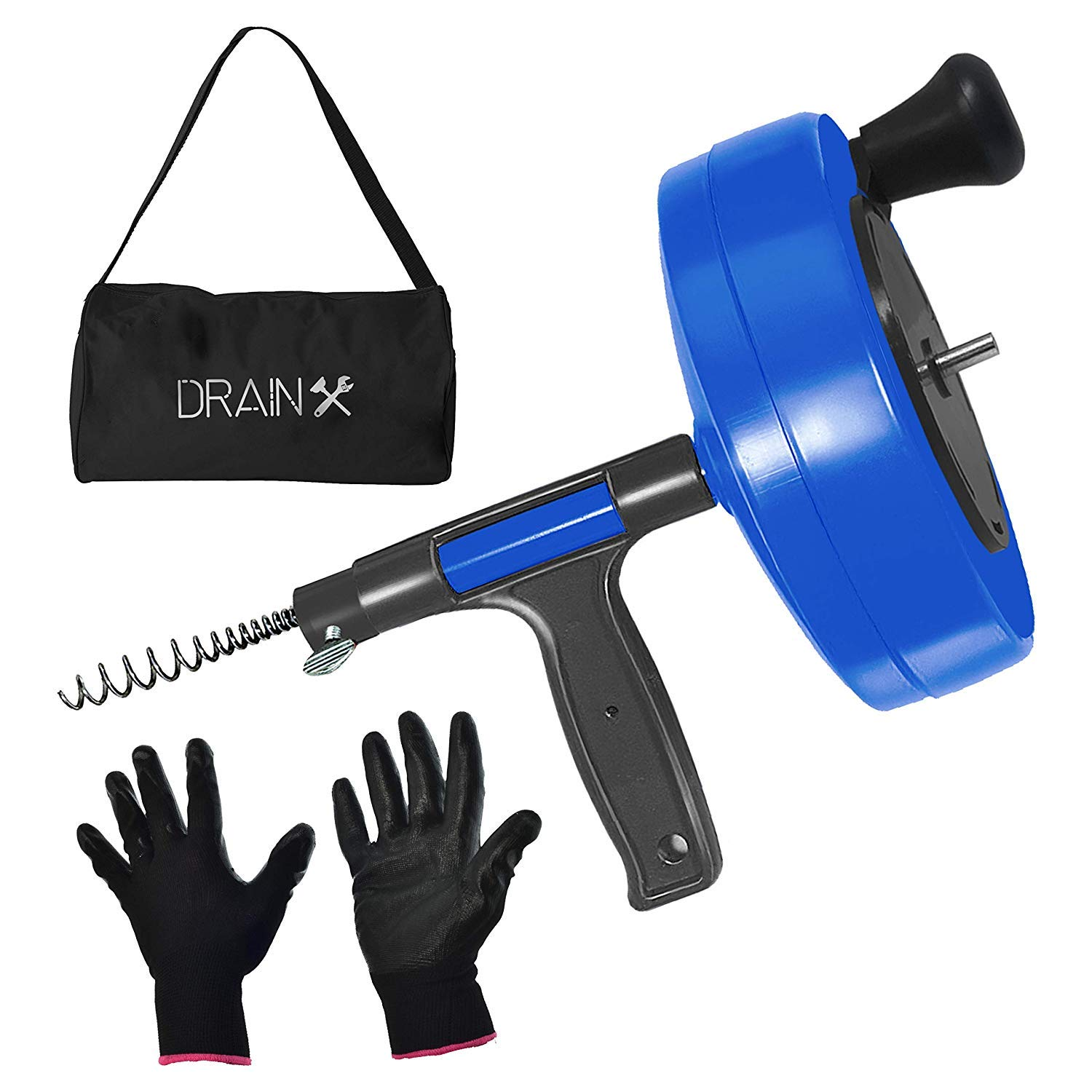 DrainX Power Pro 35-FT Steel Drum Auger Plumbing Snake with Drill Adapter | Heavy Duty Drain Snake Cable with Work Gloves and Storage Bag- Blue. by DrainX