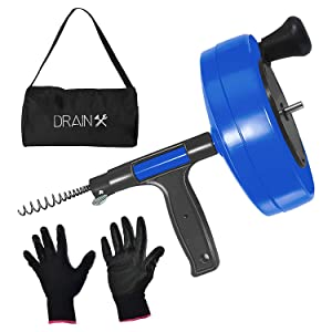 DrainX Power Pro 35-FT Steel Drum Auger Plumbing Snake with Drill Adapter   Heavy Duty Drain Snake Cable with Work Gloves and Storage Bag- Blue.
