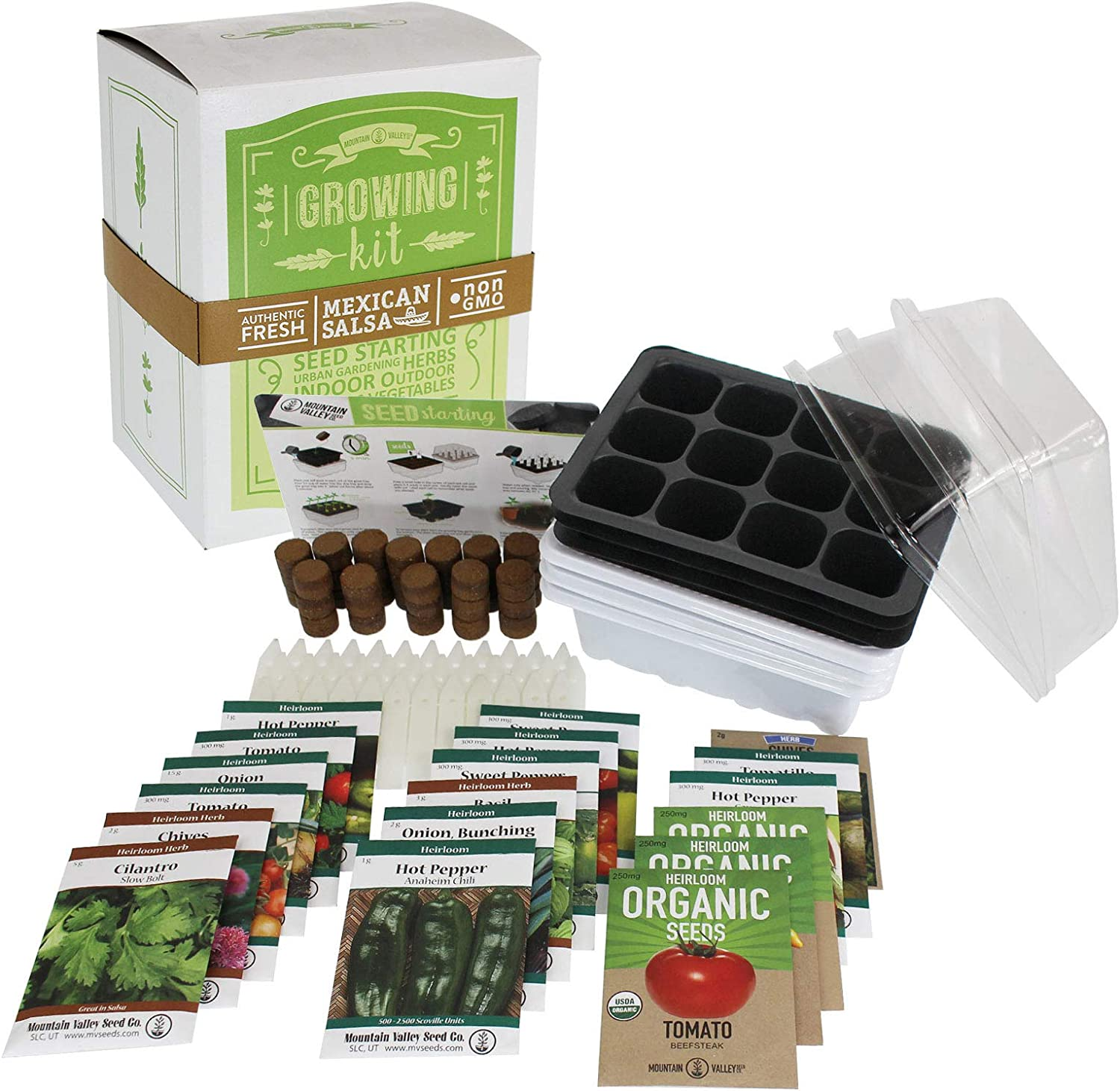 Salad & Vegetable Garden Seed Starter Kit | Premium Kit | 18 Non-GMO Varieties | Gardening Starter Kit | Seeds: Onion, Swiss Chard, Broccoli, Snap Pea, Spinach, Lettuce, Tomato & More