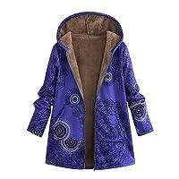 Sunnywill Manteaux d'hiver Femme Chaud, Manteaux Oversize Vintage à Capuche à Imprimé Floral