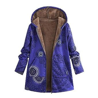 TianWlio Jacken Parka Mäntel Herbst Winter Warme Jacken Strickjacken Damen Mäntel Winter Warme Outwear Drucken Taschen mit Ka
