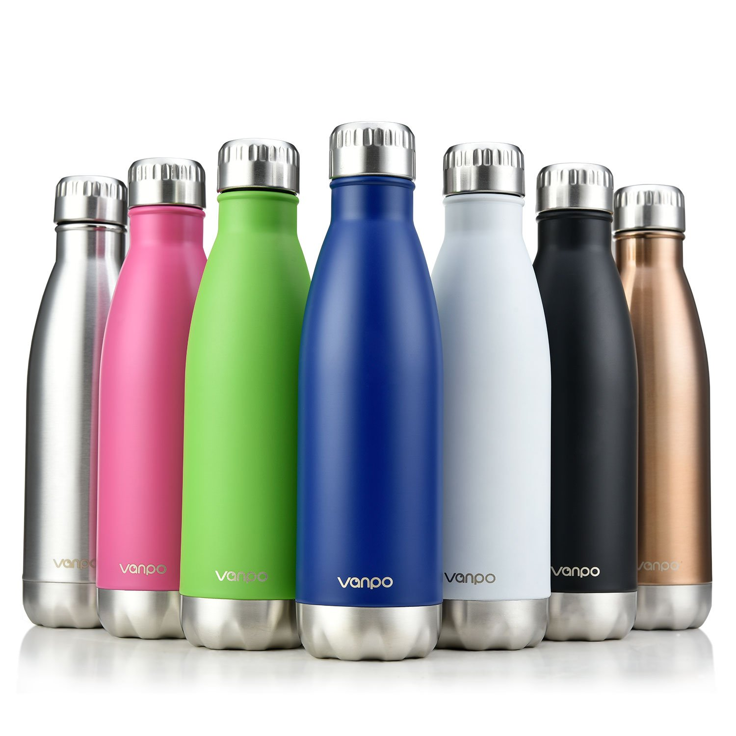 vanpo Vacuum Insulated Water Bottle Double Wall Stainless Steel Cola Shape Bottle 17OZ Keeps Drinks Cold for 12 Hours & Hot for 8 Hours,NO Sweating