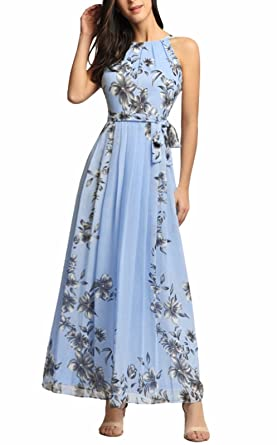 5ea9f0d052f Ruiyige Womens Sleeveless Halter Neck Vintage Floral Print Maxi Dress 01- blue Small
