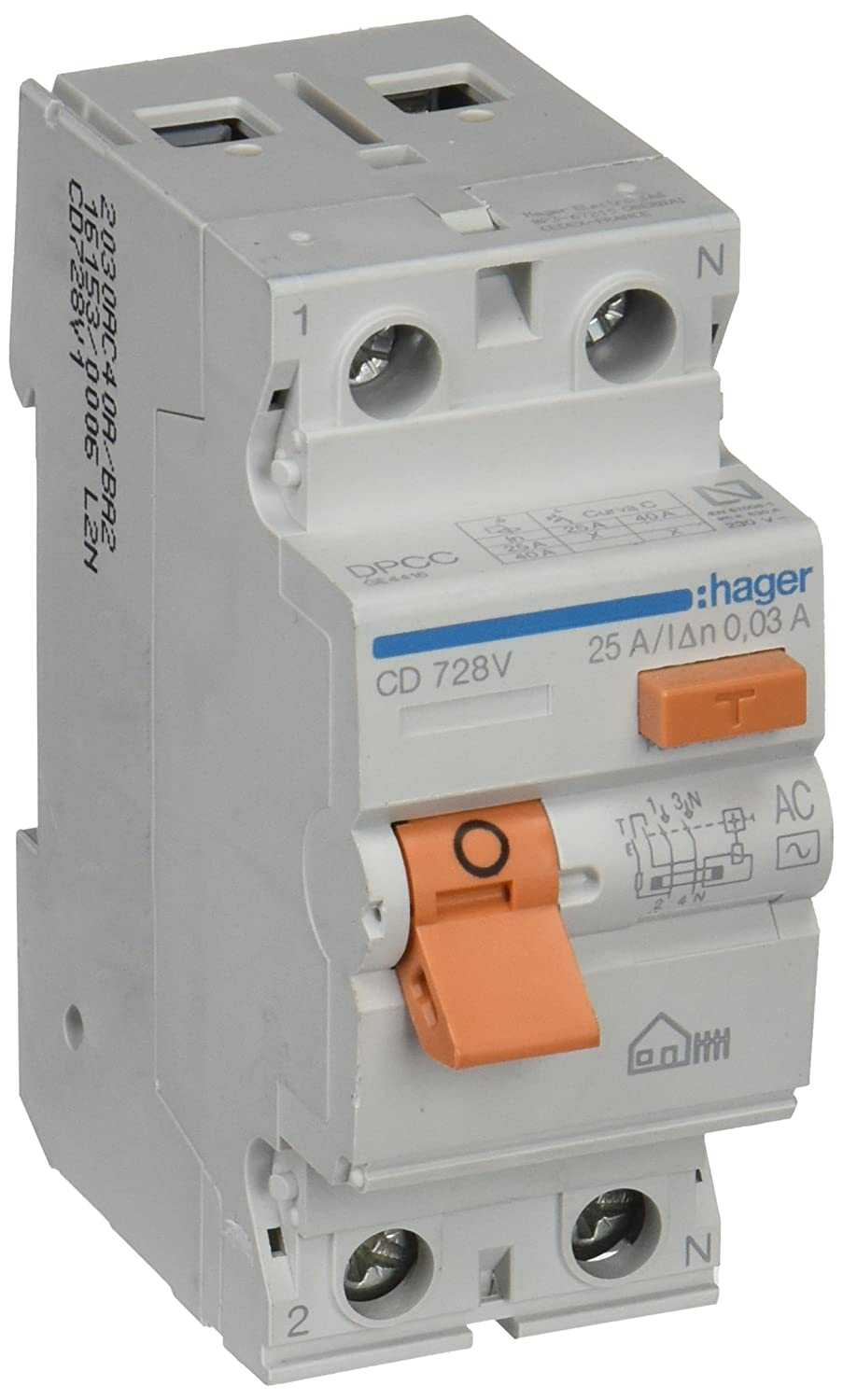 2P 30mA Hager CD728V Interruptor Diferencial Tipo AC 25A