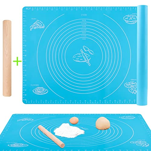 GeMoor Nonstick Pastry Bake Mat with Rolling Pin, Silicone Measurements Mat for Pastry Cooking