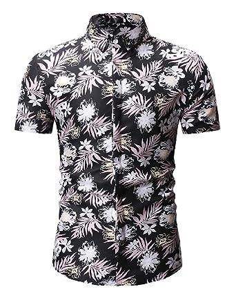 M/&S/&W Men Summer Floral Printed Short Sleeve Polo Shirt Polo T Shirt