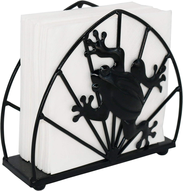Black Metal Frog Design Tabletop Napkin Holder, Freestanding Tissue Dispenser