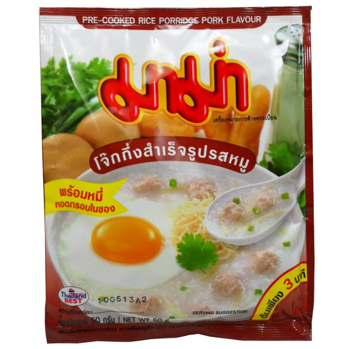 Mama Pre-cooked Rice Porridge (Jook , Congee) Pork Flavour Net Wt 50 G (1.76 Oz) X 3 Bags