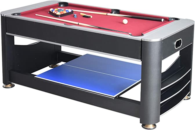 Multi Sport Game Set Including Billiard Hockey and Table Tennis Family Activities Game Table for Adult /& Children GYMAX 3-In-1 Combination Game Table