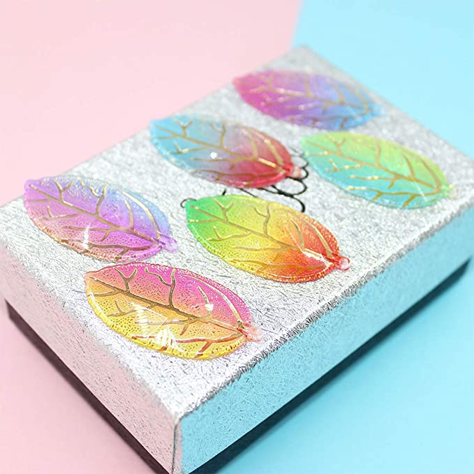 Wedding Decoration iSuperb 60 Pcs Mix 6 Color Resin Leaves Charms Pendants Leaf Flatback Appliques for DIY Craft Jewelry Making Accessories