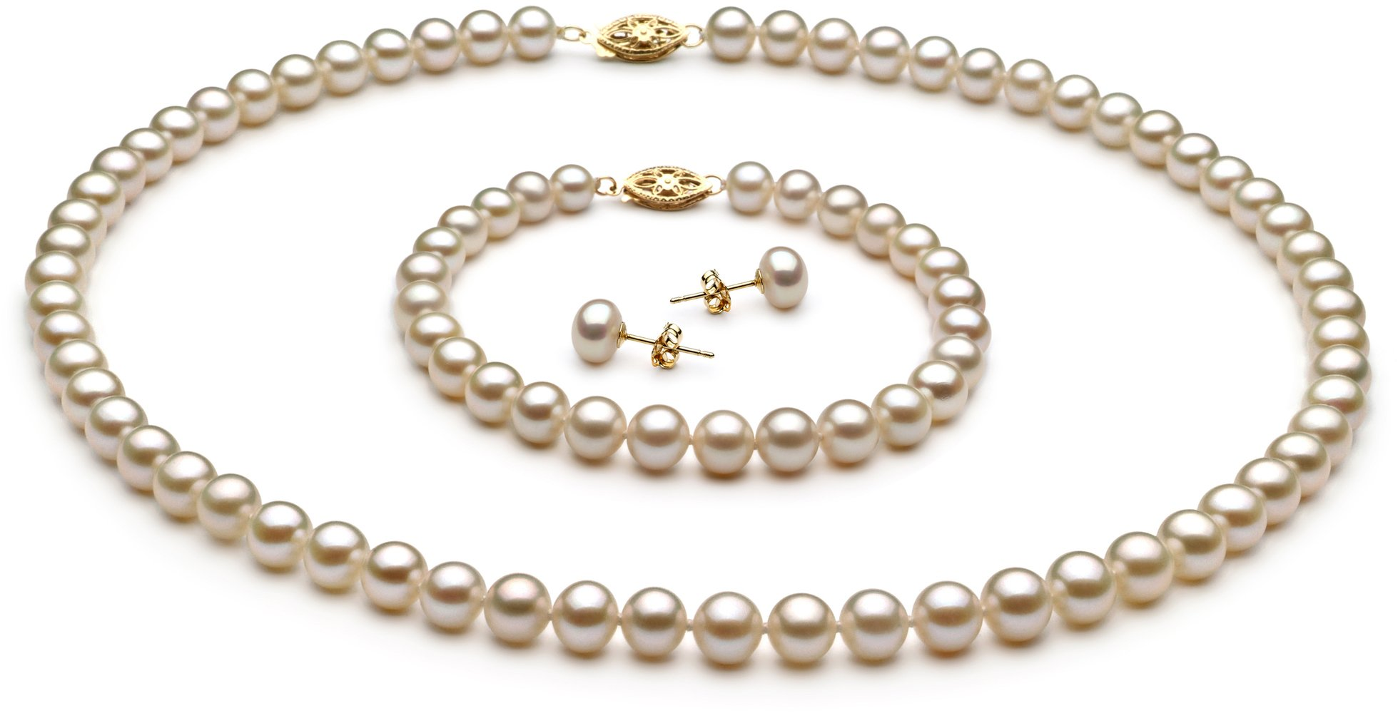 PearlsOnly - White 6-7mm AA Quality Freshwater Cultured Pearl Set-51 in Rope length