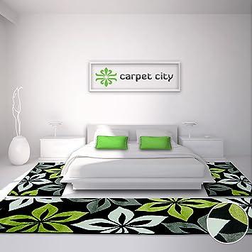Carpet City Bettumrandung Teppich Läufer Flachflor Kurzflor Moda Mit  Blumen Muster In Grün,