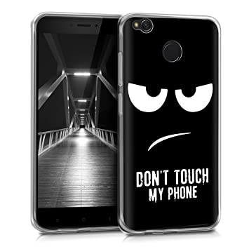 kwmobile Funda para Xiaomi Redmi 4X - Carcasa de [TPU] para móvil y diseño Dont Touch my Phone en [Blanco/Negro]