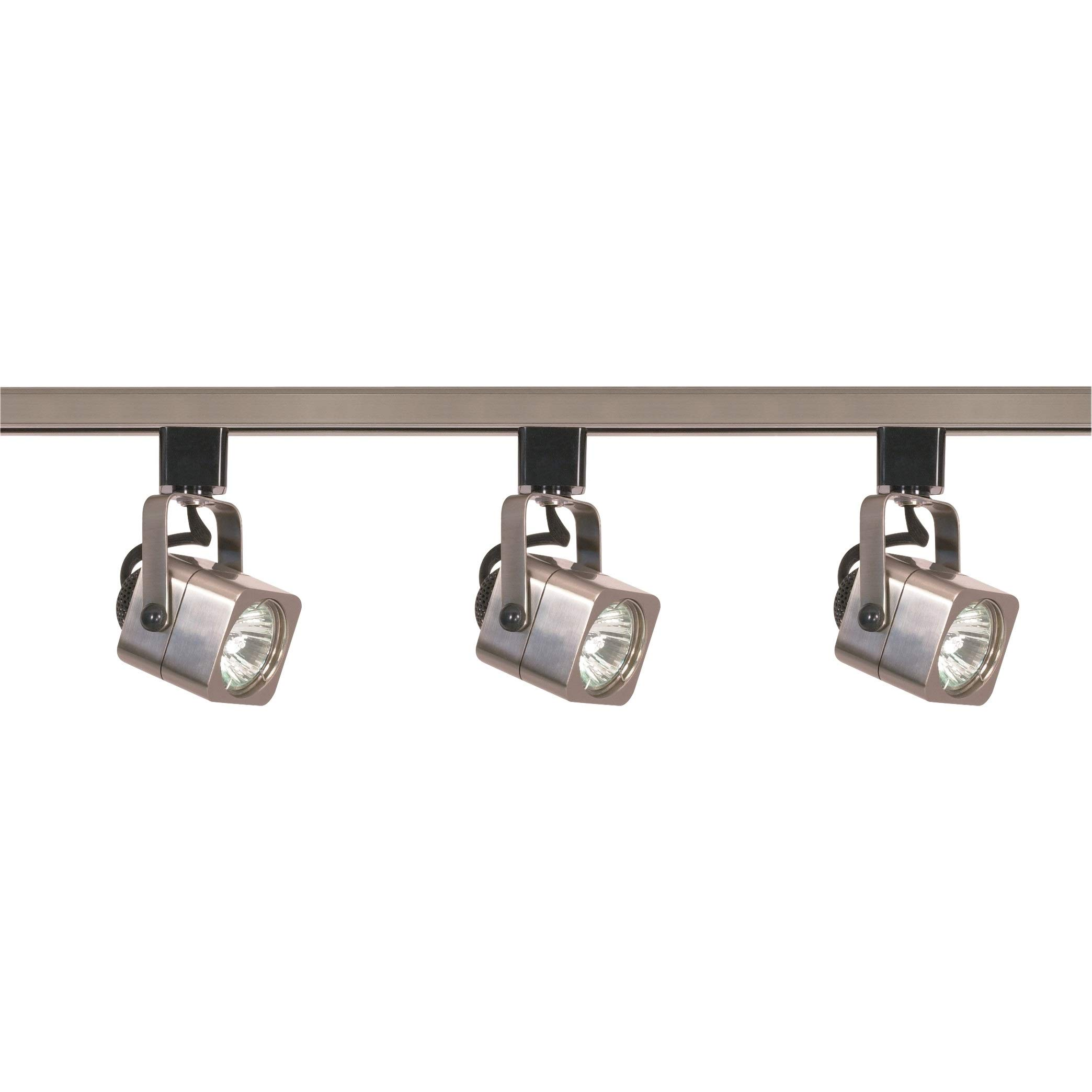Ciata lighting 3 Light Square Track Lighting 48 Inches Long MR16 Bulb, GU10 Base 50 Watts (Brushed Nickel Finish)