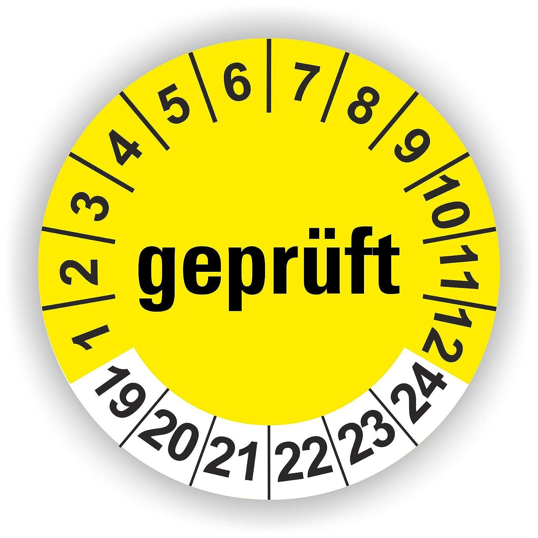 Gr/ün 30 St/ück 5-1.000 St/ück Pr/üfplaketten Pr/üfetiketten Wartungsetiketten Gepr/üft Pr/üfung /Ø 30mm
