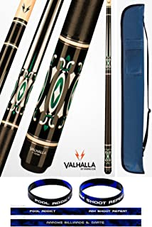 product image for Valhalla VA735 by Viking 2 Piece Pool Cue Stick Linen Wrap, HD Graphic Transfers, 5 Sets of White and Metal Rings High Impact Ferrule, 18-21 oz. Plus Cue Case & Bracelet