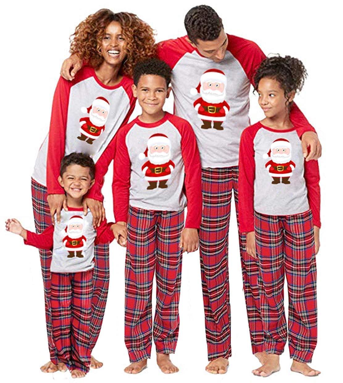 Family Matching 2 PCS Santa Claus Print Christmas Pajamas Sets O-Neck Long Sleeve T-Shirt Plaid Long Pants Homewear