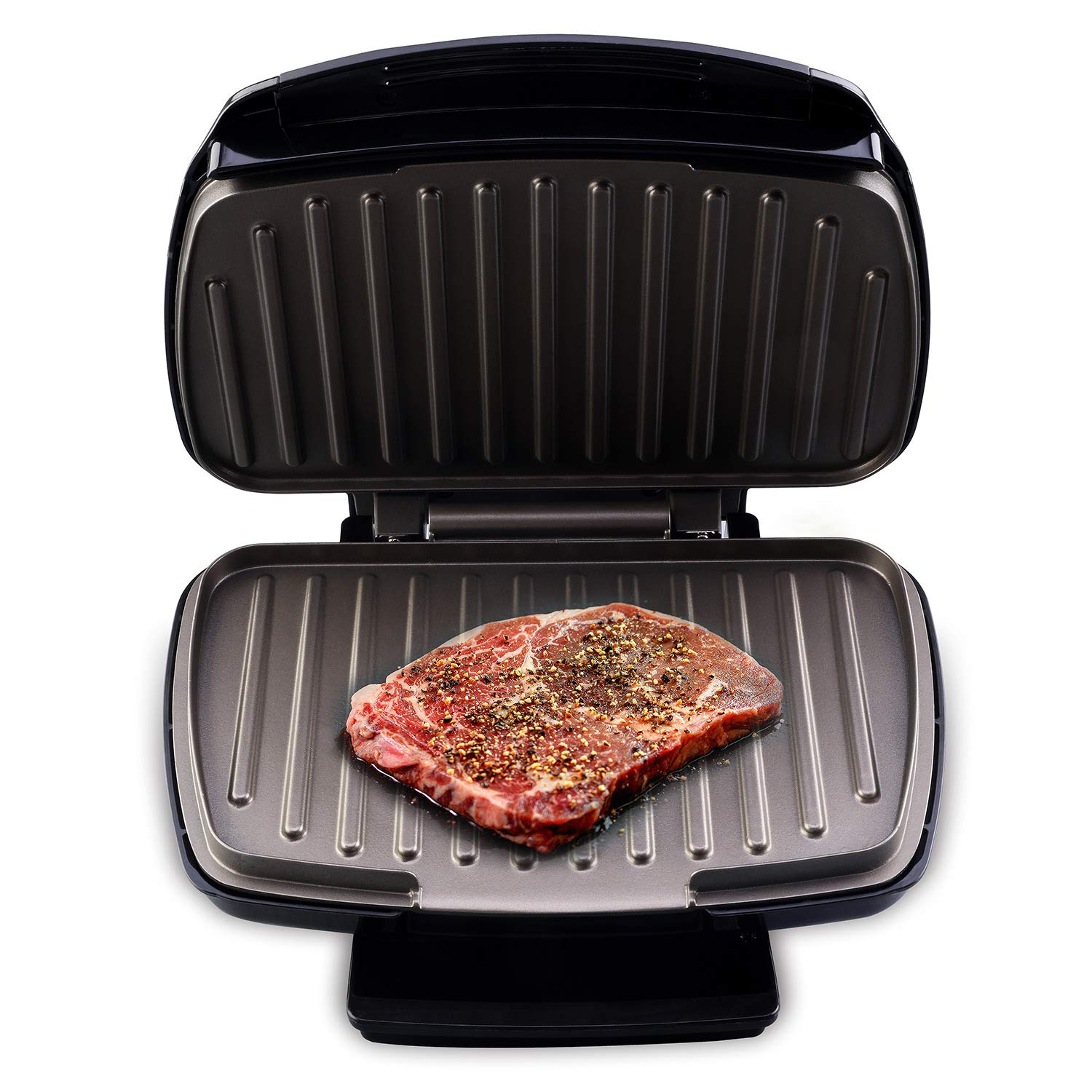 Health and Home 2-Serving Classic Plate Grill and Pannini Press, Black