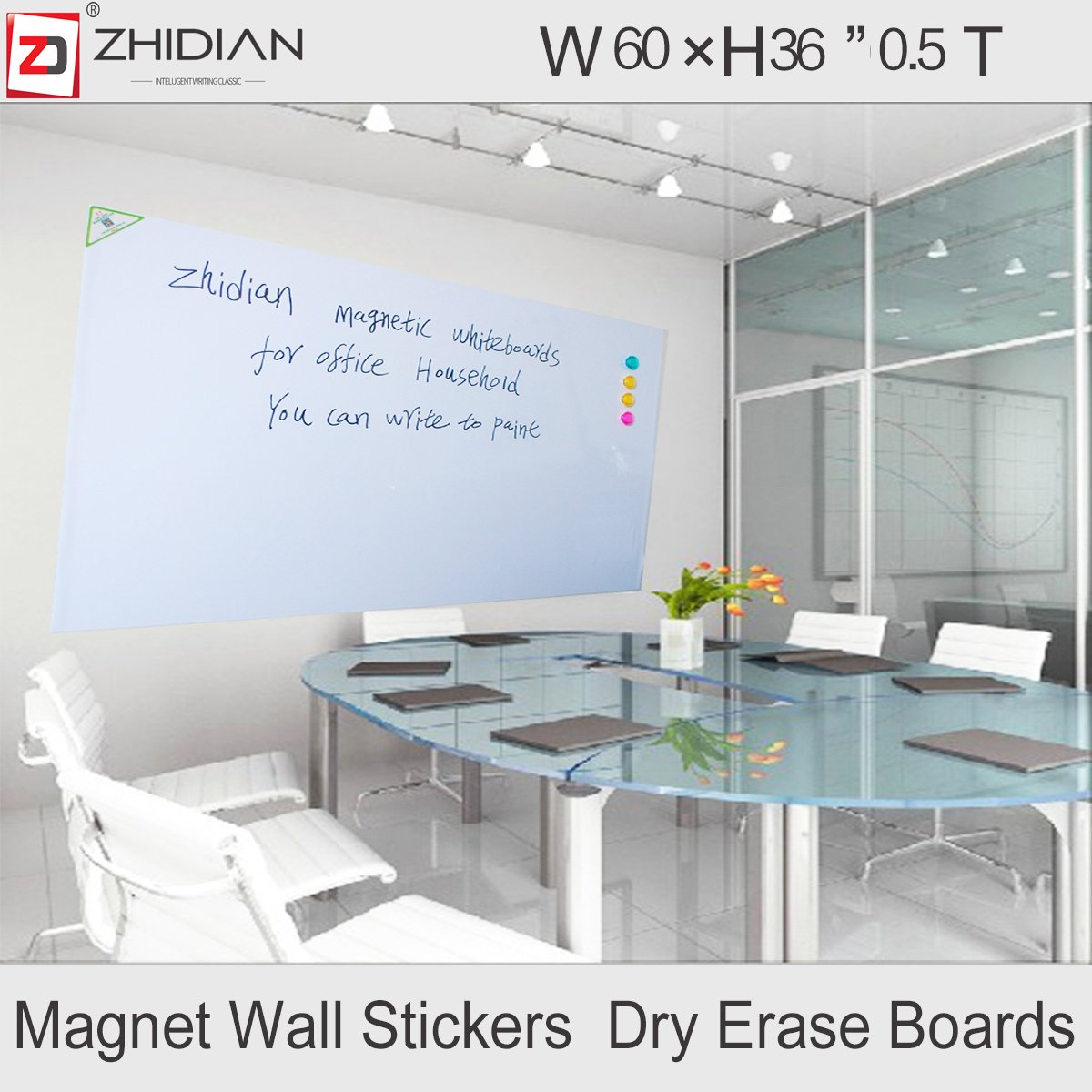 ZHIDIAN Magnetic white board stickers for wall/large dry erase board 60 X 36 Inches/markers and eraser/Magnets