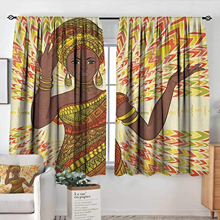 Theresa Dewey Blackout Curtains 2 Panels African Woman Dancing Woman Hand Drawing Ethnic Geometric Ornament Colorful Print Green Red Yellow Rod Pocket Curtain Panels For Bedroom Kitchen 63 X72 Amazon Co Uk Kitchen Home