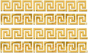SUNIY 24 Pieces Removable Acrylic Mirror Setting Wall Sticker Decal Geometric Greek Key Pattern for Home Living Room Bedroom Décor (24Pcs-Gold)