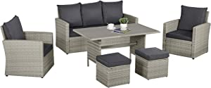 Outsunny 6 PCS Patio Dining Set All Weather Rattan Wicker Furniture Set with Wood Grain Top Table and Soft Cushions, Mixed Grey