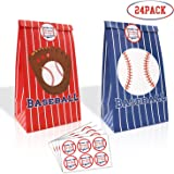 24 Packs Baseball Goodie Candy Treat Bags Baseball Party Gift Bags with Thank You Stickers for Kids Sports Theme…