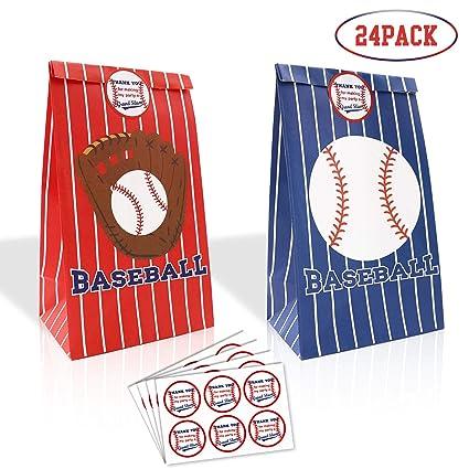 Amazon.com: 24 paquetes de bolsas de golosinas de béisbol ...