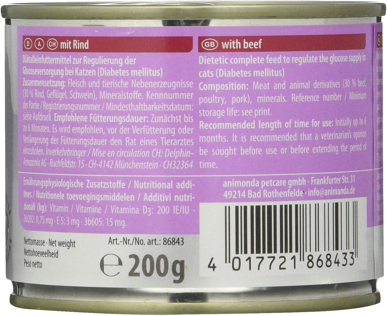 animonda Integra Protect Diabetes para gatos, comida dietética para gatos, comida húmeda para gatos con diabetes mellitus, con vacuno, 6 x 200 g