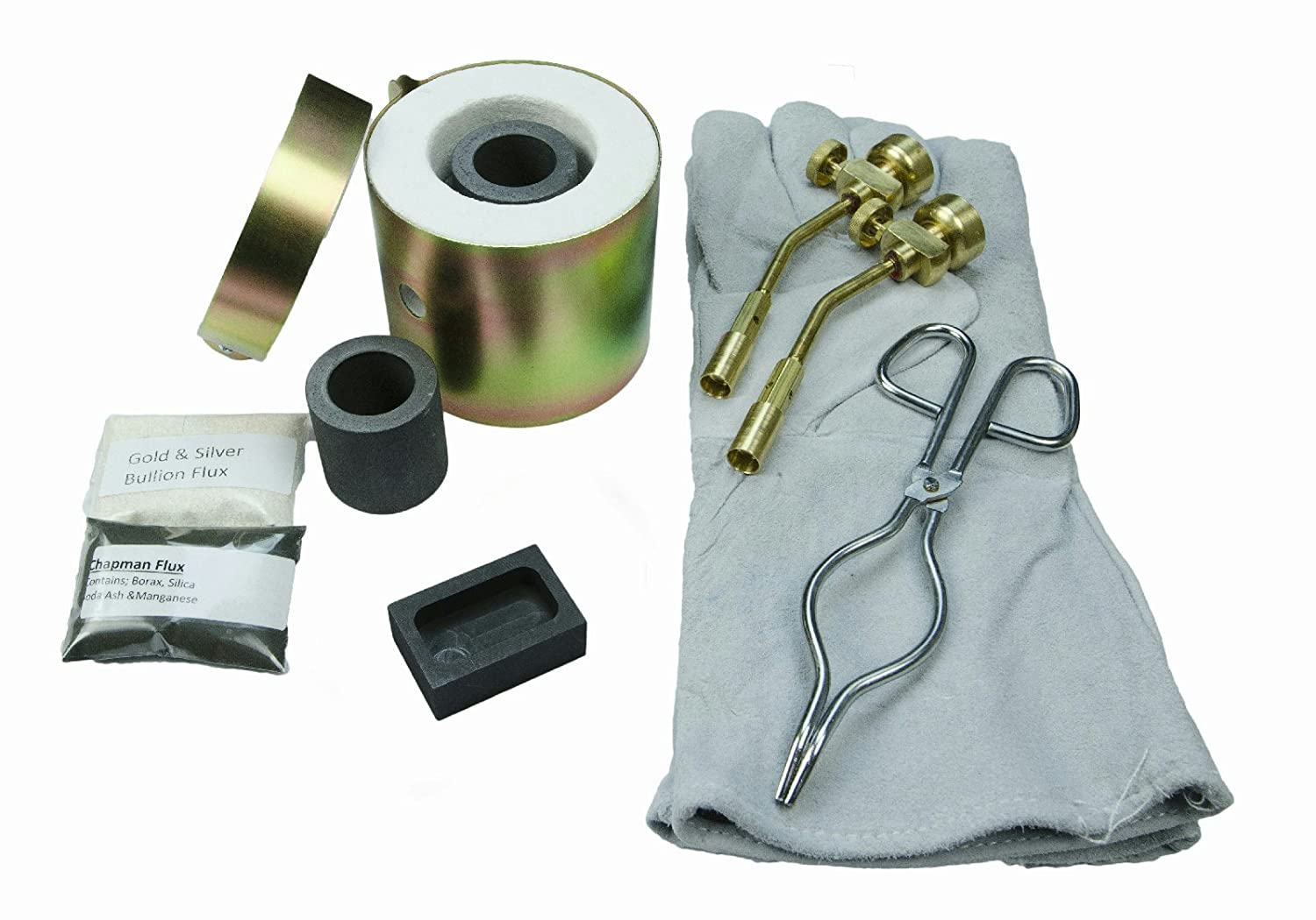 Mini Propane Gas Furnace Kit - Mold, Kiln, Flux, Tips, Gloves, Crucibles, Tongs FFC-8-Melts Gold / Silver in 10min The Fast Furnace Company