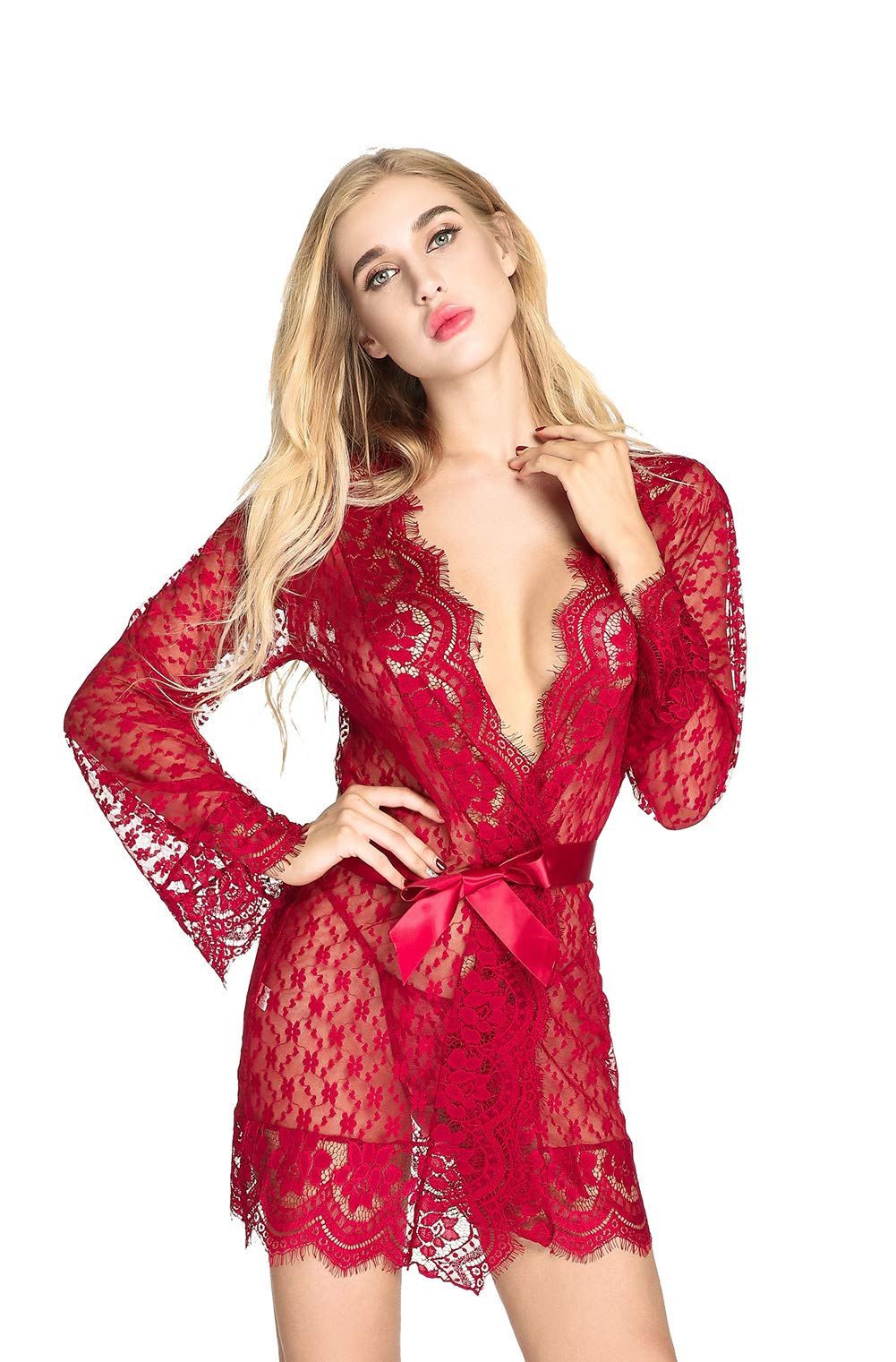 QUEEN MOON Babydolls Sexy Lingerie for Women for Sex Long Sleeve Lace Lingerie Set Exotic Lingerie Robe