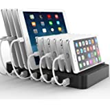 FlePow 10-Port USB Charging Station Dock with Built-in Charge Cables(Patented Retractable Design) Organizer for Smart Phones & Tablets, Black