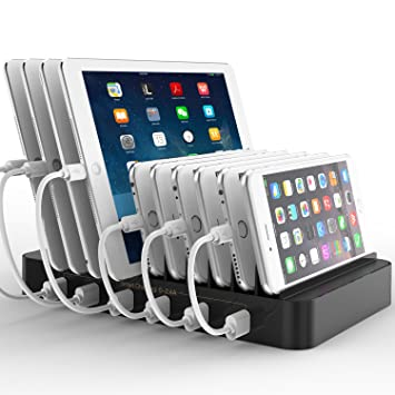 FlePow 10 Port USB Charging Station Dock With Built In Charge  Cables(Patented