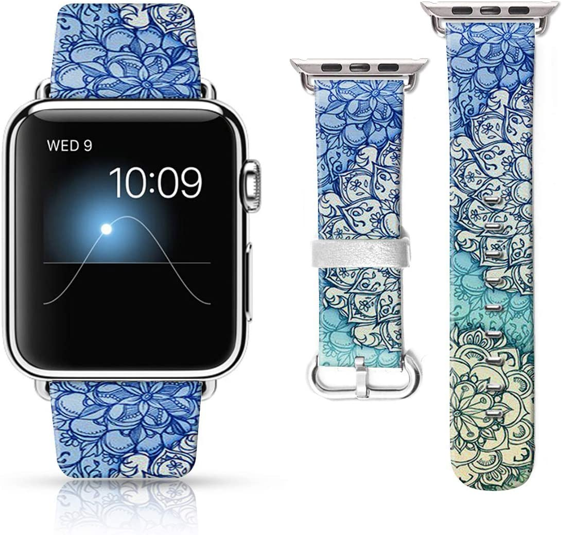 LAACO Leather Band Compatible with iWatch SE Series 6 38mm 40mm, Genuine Leather Fadeless Pattern Printed Vintage Replacement Strap Classic Bands Compatible with iWatch 6/5/4/3/2/1 Mandala Flower