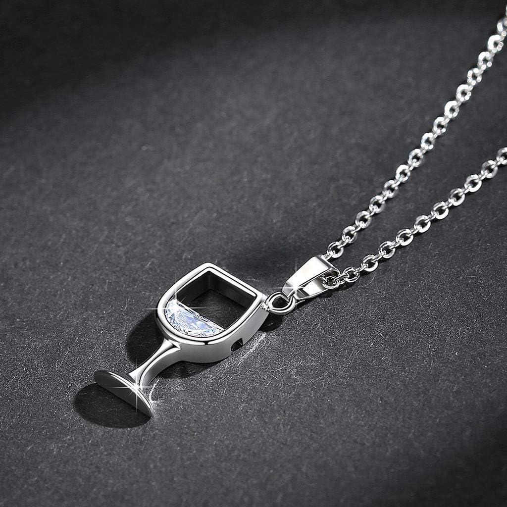 HebeTop ◕‿◕ Stainless Steel Love Wine Gold Silver Enamel Heart Pendant Chain Necklace Jewelry Girl S Womens